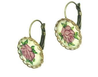 Cute floral earrings Women gift ideas antique earrings pink cute gift summer floral summer jewelry blush pink  dusty  gifts for women