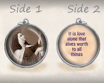 St. Teresa of Avila and Quote Love Catholic Medal Pendant Christian Religious Jewelry