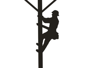 Unfinished Wood Power Lineman on pole 20 inch tall