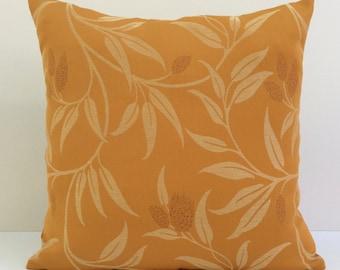 Ochre Pillow, Throw Pillow Cover, Decorative Pillow Cover, Cushion Cover, Pillowcase, Accent Pillow, Toss Pillow, Cotton Blend, Floral Cover