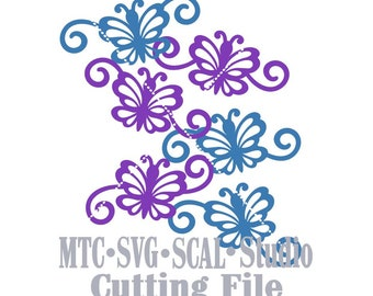SVG Cut Files Butterfly Flourish Set 01 Design #02 Spring MTC SCAL Cricut Silhouette Cutting Files