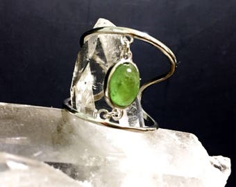 Natural Green Tourmaline 925 Sterling Silver Adjustable Ring,  Gift for her, Anniversary Gift