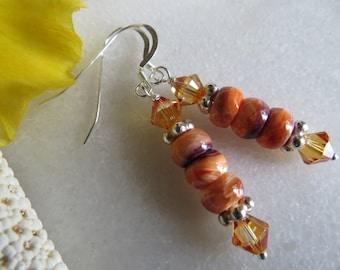 Lion's Paw Shell Earrings, Sterling Silver Earrings, Shell Earrings, Swarovski Crystal Earrings, Silver Earrings. Orange Boho Beach Earrings
