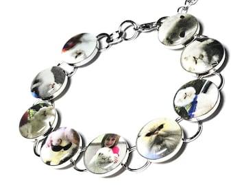 Personalized Pet Bracelet, Custom Pet Jewelry, Pet Bracelet, Cat Dog Photo Jewelry, Custom Cat Jewelry, Pet Memorial
