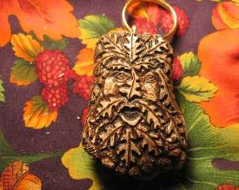 Heinrick the Oakman Greenman hand carved antler  reproduction key chain key ring Accessories  Keychains& Lanyards handmade wood spirit Fob
