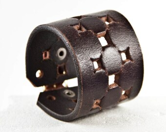 Brown Leather Jewelry - Dark Leather Cuff - Dark Brown Bracelet Wristband
