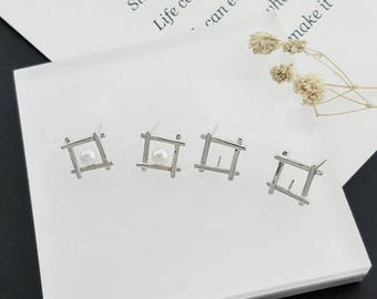 sterling silver earring stud setting,  geometry pattern earring setting without pearl,jewelry DIY,gift DIY,special, simple and fashion