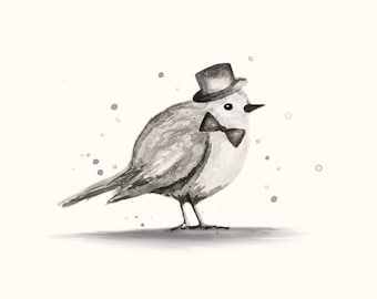 Little Bird Print with Top Hat and Bow-tie - Ink illustration of tiny bird, baby boy nursery or neutral nursery print in black and cream