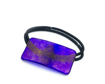 Ponytail Holder, Royal Blue Iridescent Glass, Elastic Hair Tie