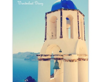 Santorini Belltower Travel Photography, Mediterranean Print, Santorini Photo, Blue Sea Photography, Santorini Wall Art, Greece, Home Decor