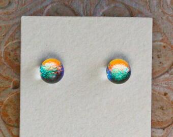Dichroic Glass Earrings , Petite, Red/Golden/Green  DGE-1381