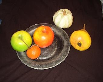 PAPER PLASTIC, Fruit in dish, papiemache,imitation, painted, Home decor