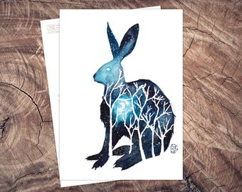 Hasenmond-postcard illustration A6, watercolour, pressure climate neutral