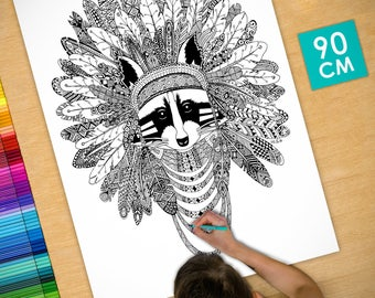 Poster / Poster deco coloring (90cm) raccoon - coloring for adults