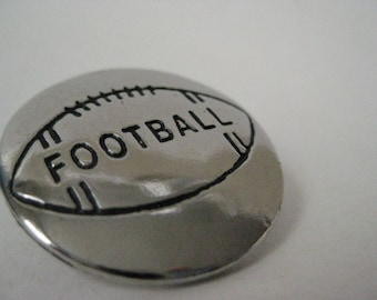 Football Silver Brooch Vintage Pin Tie Tack