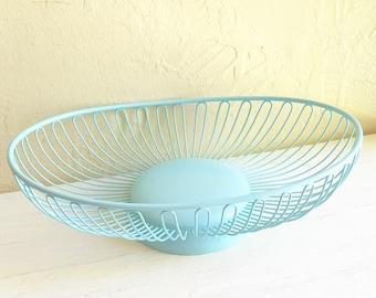 Vintage Pretty Blue Metal Basket Bowl Upcycled