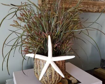 Floral Arrangement in Bamboo-style Metal Pot with Starfish Accent