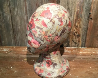 Vintage wallpaper styrofoam head, hat holder, hat display, jewelry display, mannequin head, decoupage head, hat holder, studio display