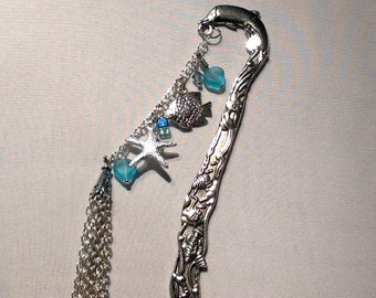 Bookmark Pewter Dolphin Bookmark Chain of Charms Crystals
