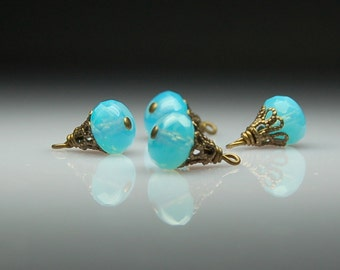 Vintage Style Bead Dangles Blue Glass Set of Four BL46