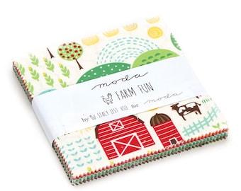 "Moda-Farm Fun Charm Pack by Stacy Iset Hsu Pre~Cut 5"" x 5"" Squares 20530"