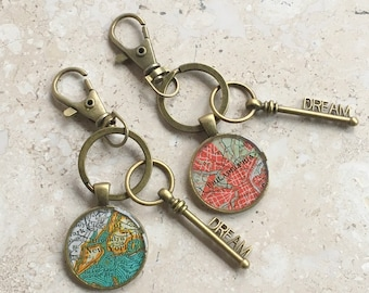 Map Keychain  Custom City with Bronze Dream Key  Father's Day  or Graduation Gift