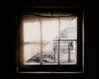 Irish Photography - Window with Mangle Fine Art Photograph - Dark Ireland Print - Vintage Northern Ireland Kitchen - Window Light