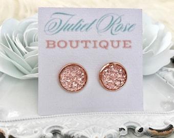 Rose Gold Druzy Earrings - Pink Druzy Earrings - Rose Gold Pink Druzy Earrings - Druzy Earrings - Faux Druzy Earrings - Druzy Stud Earrings