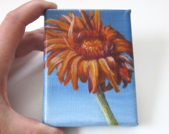 Mini Painting, Original Small Acrylic Painting of Flower, Floral Still Life Art Orange and Blue Home Decor