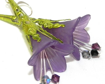 Lucite Trumpet Flower Earrings - Hand painted Victorian purple Lily - Chartreuse green Filigree Cone
