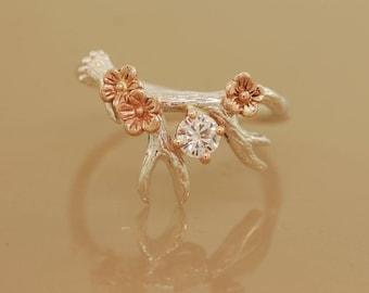 Antler Ring 2 With Rose Gold Flowers, moissanite ring,alternative engagement ring, twig ring, twig diamond ring, antler ring