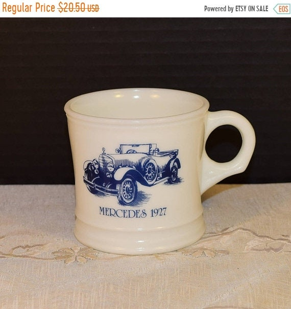 Delayed Shipping Surrey Milk Glass Shaving Mug 1927 Mercedes Vintage Blue Car Coffee Cup Antique Mercedes Man Cave Decor Made in USA Collect