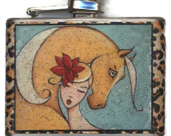 Palomino Horse Woman Flask, Gift for Her, Best Friend Bridesmaid 21st Birthday, Equestrian Lover Unique Idea, Best Selling Item, Shano