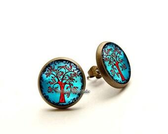 Tree of life earrings, Tree of life stud, Tree of life jewelry nature earrings, Hypoallergenic Earrings for Sensitive Ears