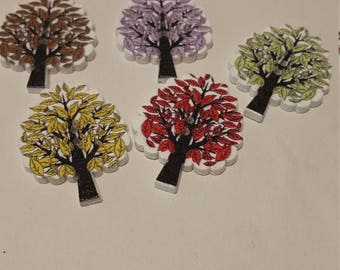 "colourful wooden buttons ""Trees"""