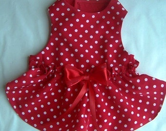 Red Polka Dot Dog Dress : red dog dress small dog