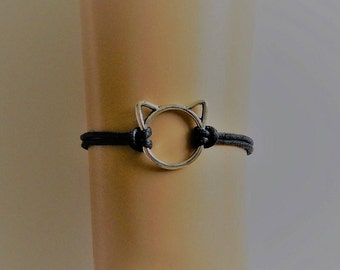Cat Bracelet, Black Cats Whiskers Wax Cord Bracelet, Black Bracelet, Silver Cat Charm Bracelet, Black Cat Bracelet. Kitty Lovers  Bracelet,