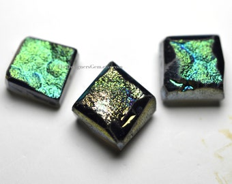 Green and Purple Titanium Quartz Druzy Top Drilled Pendant 11 x 11mm to 12 x 12mm - 3 Pieces