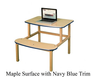Child's wood computer desk with attached seat for 1 or 2 kids