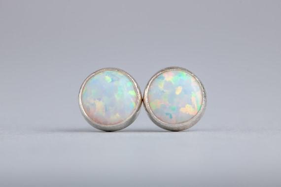 White Opal Gemstone Stud Earrings - Small 6mm or 4mm Size