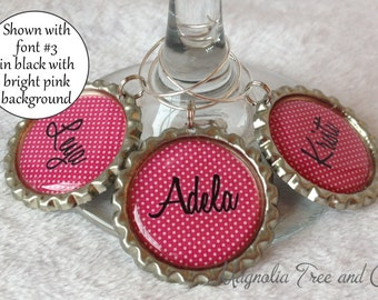 Personalized Wine Charms, Bachelorette Party Favors, Wedding Favor, Custom Name, Wine Rings, Party Favour, Polka Dot Print, Set of 6