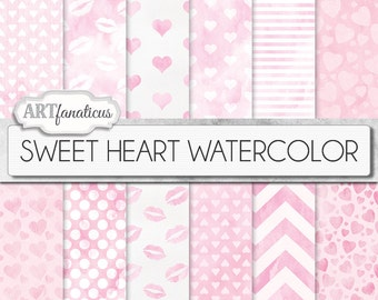 "Digital Love Papers ""SWEET HEART WATERCOLOR"" heart patterns, watercolor texture, pink backgrounds, sweet kisses, Valentines Day, pink hearts"
