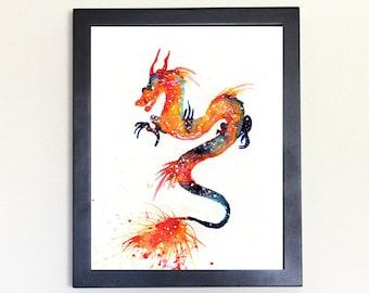 Fire Dragon Art Print, Galaxy Spirit Animal Watercolor 8x10, Totem Guide