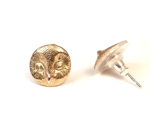 Owl earrings in Bronze with Sterling Silver pins