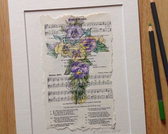 Hymn art. Vintage hymn book page. Original. Pencil and ink. Cross. Easter. Pansy. Christian gift. Birthday. Bible verse art. Wall art.