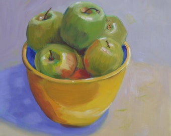 Original Still Life Oil Painting//Yellow Bowl of Green Apples//12 x 12 on Board//Unframed with Painted Sides and Wire Hanger