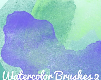 10 Watercolor Brushes 2 Pattern Photoshop .abr Brush Set