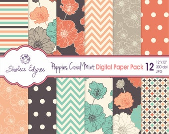 Digital Floral Paper Pack, Coral Navy Mint Poppies, 12x12 Instant Download