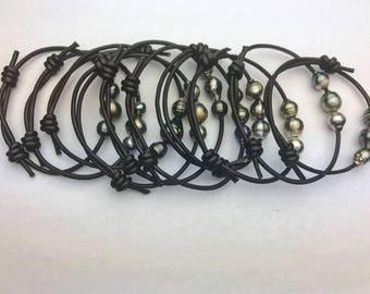3 Tahitian Pearls on Leather Bracelet