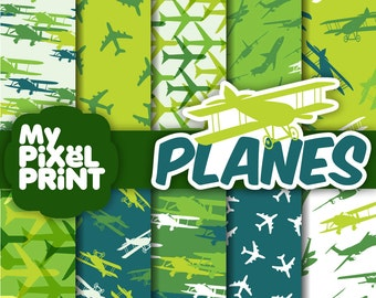 Airplanes - Green Blue White - Fly Sky Travel Aircraft Planes - Digital Scrapbooking Paper Pack - My Pixel Print
